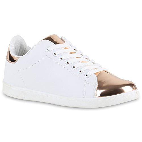 Damen Sneakers | Sneaker Low Metallic Cap | Sportschuhe Leder-Optik Glitzer | Freizeit Schnürer Prints Samt | Trainers Allyear Weiss Rose Gold
