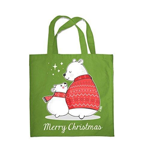 COLOUR FASHION Merry Christmas Grande e piccolo Bears SPESA BORSA DA SPIAGGIA BORSA 0089 Pisello Verde