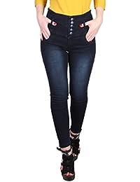 Broadstar Women's Slim Fit Jeans (5BUTTON, Blue, 32)