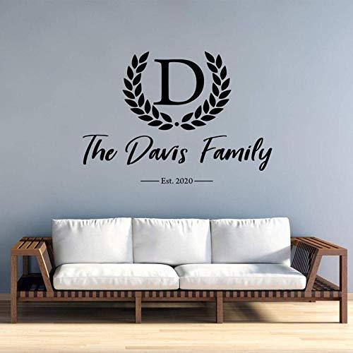 Monogramm Nachname Wall Decal Custom Sticker personalisierte Dekoration gegründet Jahr Anfangsbuchstabe Name und Datum -