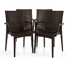 Varmora Designer Chair Set of 4 (Club Handle - Brown)