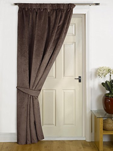 Chocolate Thermal DOOR Curtain – FAUX VELVET FABRIC- Reduces Heat Loss, Prevents Draughts, Saves Energy.