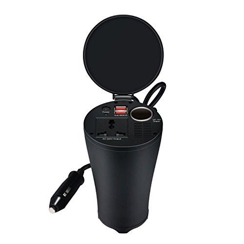 Getränkehalter Strominverter 12 V - 230 V, 3-in-1 Zigarettenanzündersteckdose + Netzstecker + Dual 5V USB-Anschlüsse mit 4,8 A Leistung, Spannungswandler, Wechselrichter, für alle 230V Stecker, 150 W