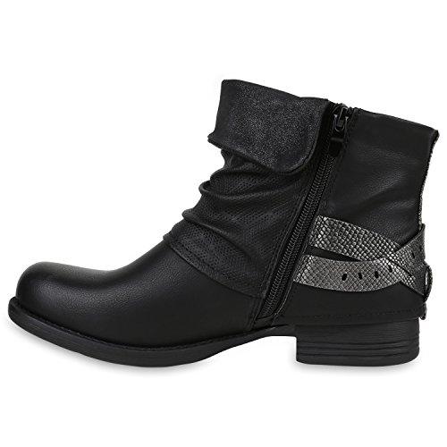Damen Biker Boots Nieten Stiefeletten Metallic Schnallen Gr. 36-42 Schwarz