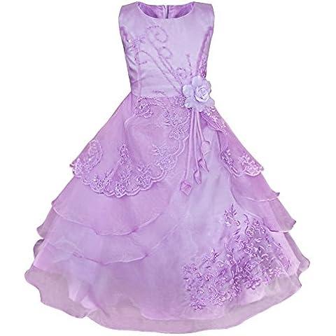 iEFiEL Vestidos Elegantes de Princesa Fiesta Noche Ceremonia Disfraces de Organza Bordados para Niñas Varios