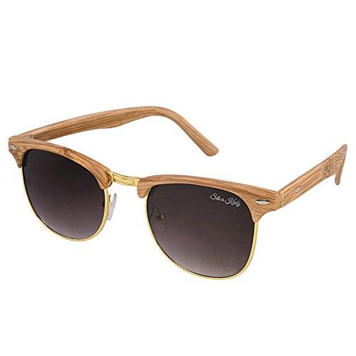 Silver Kartz Wooden Matt Finest-Finish Brown Clubmaster Sunglasses (wy188)