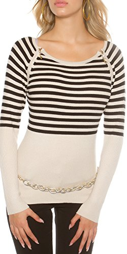 Koucla Rippstrick-Pullover mit Zipper und Streifen-Muster S/M - Rippstrick-muster