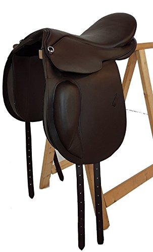 Baumloser Dressur Sattel PRESTON aus Büffelleder Braun, Mit Klettkissen, Größe:16 Zoll