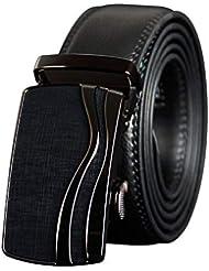 L-MEIQUN,Hebilla automática de Cuero Ocio Moda Negocio cinturón(Color:Negro,Size:115 cm)