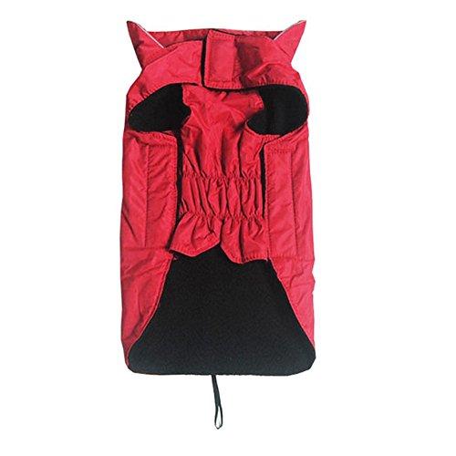 Minkoll–Chaqueta Impermeable para Perro en Plein Air, Polar Doublé Suave Caliente Pet Dogs Vest Ropa con arnés Agujero, XXL Rojo
