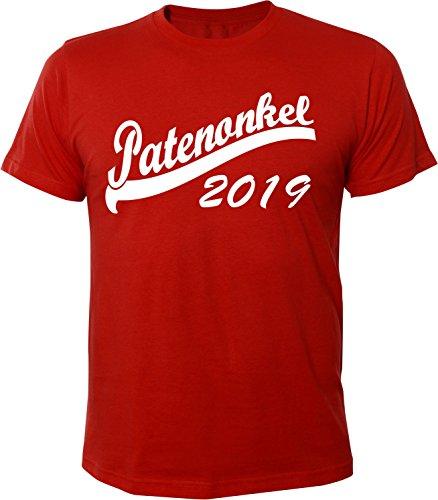 Mister Merchandise Herren Men T-Shirt Patenonkel 2019 Tee Shirt bedruckt Rot