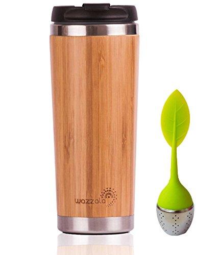 Edles wiederverwendbar Bambus Eco Travel Becher (Thermos) für Kaffee oder Tee | spritzwassergeschützt, leicht zu reinigen Deckel | Silikon Tee-Ei enthalten, Bambus, 420 ML