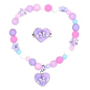 Parure pour petite fille avec bracelet et bague violet rose bleu blanc