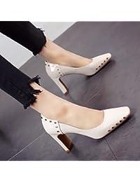 YMFIE Lo stile europeo di primavera ed estate sottili e poco profonde rivetti sexy scarpe a punta alta singola...