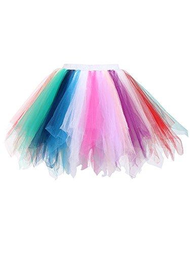 Satinior Vintage Petticoat Crinolines Tutu Ballet Bubble Skirts Adult Tulle Skirt (L - XL Size, Multicolor)