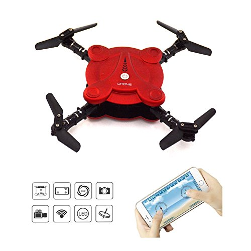 LHI Quadcopter Drone with FPV Camera and Settled Video - Duteous Foldable Aerofoils - App and Wifi Phone Systematize UAV- Camera Altitude Coop up Universality RC Quacopter RTF (Red)