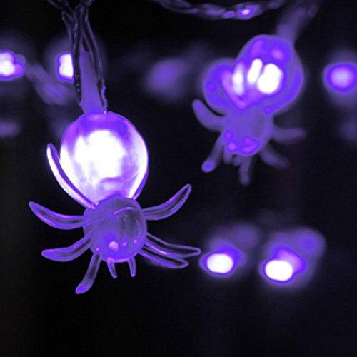 HKFV LED-Fee-Schnur-Lichter 20 purpurrote Spinnen-Lichter Halloween-Dekoration-Licht Batteriekasten lila Spinnenlicht Weihnachten Halloween LED Projektionslampe