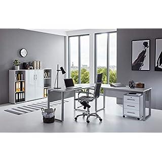 BMG-Moebel.de Büromöbel komplett Set Arbeitszimmer Office Edition in Lichtgrau/Weiß Hochglanz (Set 2)