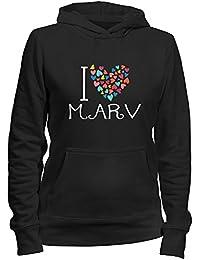 Idakoos I love Marv colorful hearts - Männliche Namen - Damen Hoodie