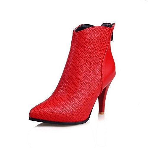VogueZone009 Damen Spitz Zehe Niedrig-Spitze Hoher Absatz Eingelegt Mikrofaser Stiefel, Rot, 37