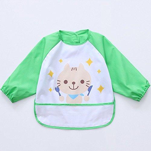 Oral-Q Blusón Babero Babi Impermeable de Mangas Largas Protección de Ropa Infantil Delantal de Pintura Dibujo para Bebés Niños Niñas Varios Colores 3 Tallas a Elegir
