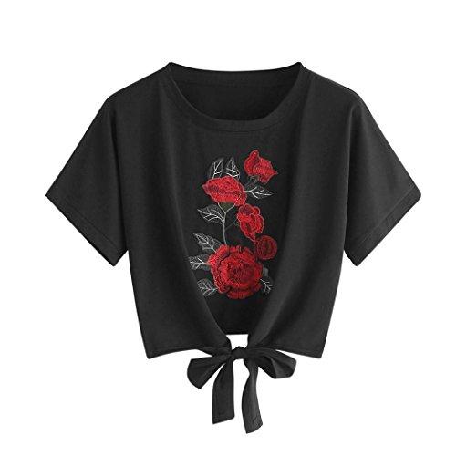 Sannysis Frauen Rose Print Tank Top Sommer Kurzarm Tops Damen Sommer T-Shirt Kurzarmshirt Crop Top mit Rose Stickerei Freizeit Bauchfrei Sweatshirt (Sexy-Schwarz, M)