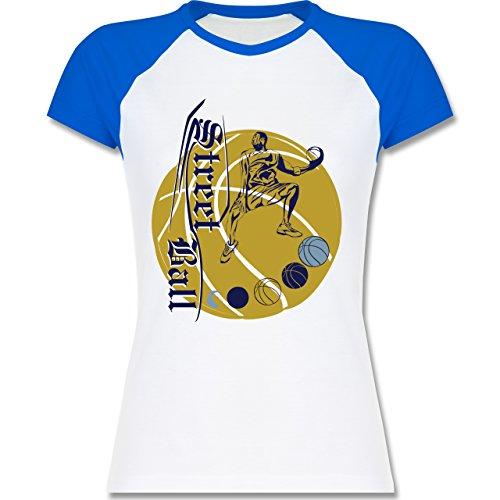 Basketball - Basketball - zweifarbiges Baseballshirt / Raglan T-Shirt für Damen Weiß/Royalblau
