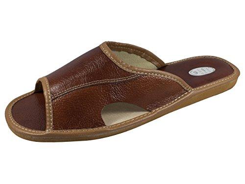 Natural Line Vera pelle da uomo pantofole, infradito, pantofole con soletta anatomica e fodera in lana. Vari colori (Brown (Open Toe))