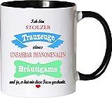 Mister Merchandise Becher Tasse Stolzer Trauzeuge Eines unfassbar phänomenalen Bräutigams Kaffee Kaffeetasse liebevoll Bedruckt Traumhaft Wahnsinnig fantatsisch Weiß-Schwarz