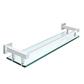 Sayayo Glas-Regal-Quadrat-Badezimmer-Regal mit der Schiene an der Wand befestigt 20 Zoll, Edelstahl-Chrom beendet, EGC2000