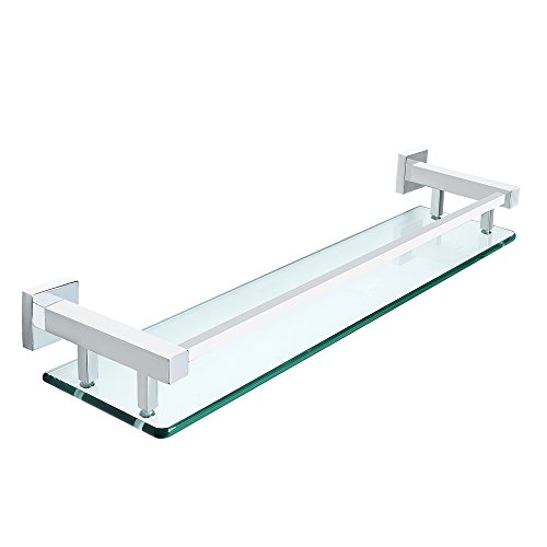 Sayayo Glas-Regal-Quadrat-Badezimmer-Regal mit der Schiene an der Wand befestigt 20 Zoll, Edelstahl-Chrom beendet, EGC2000 Whitmor Korb