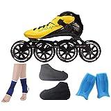 Ailj Donne Professionali di Rollerblades di velocità di Gioco, Combinazione di Pattini per Adulti da 85A Pattini in Linea in Fibra di Carbonio per Ragazze Nero Giallo (Color : Yellow, Size : EU 36)