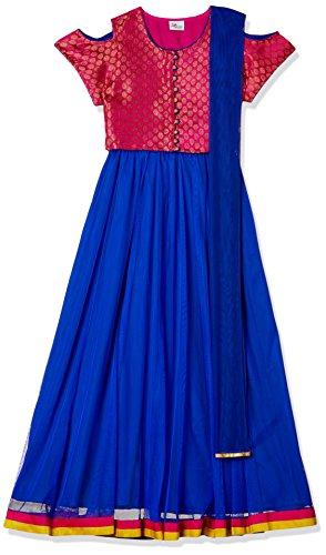 Elaisha Girl's Regular Fit Ghagra Choli (GC-5_Blue_7 - 8 years)