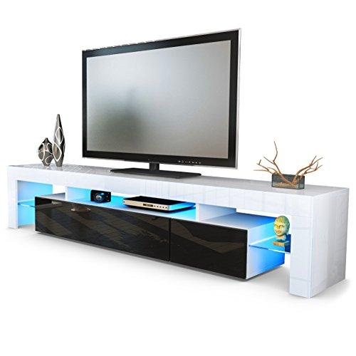 Vladon TV Schrank Lowboard Fernsehschrank Fernsehtisch Wohnzimmer Lima V2 in Weiß/Schwarz Hochglanz