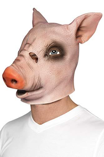 Smiffys Unisex Schwein Gesichtsmaske, Ganzer Kopf, Latex, One Size, Rosa, - Schwein Kopf Kostüm Maske