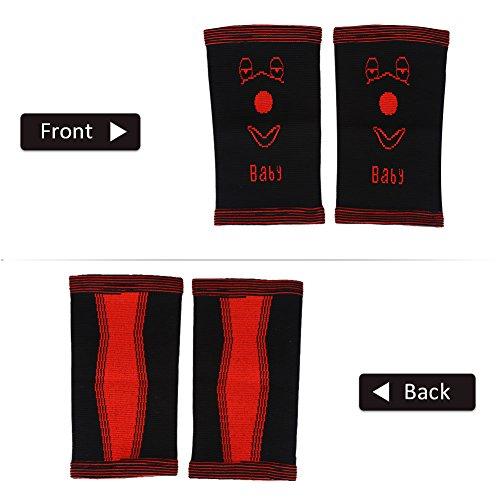 VGEBY Kinder Kniebandage Knieschoner Atmungsaktiv Knieschutz für Basketball Fußball Volleyball Sport Fitness 1 Paar(M-Black+Red)