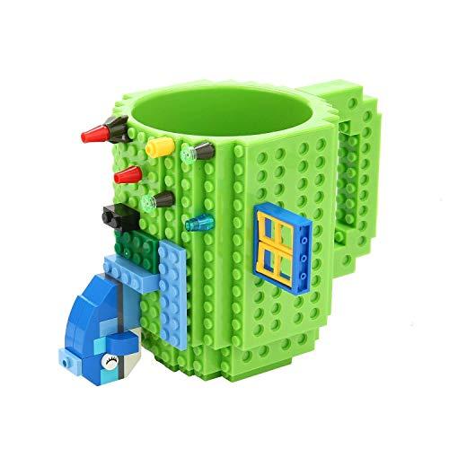VANUODA Build-on Brick Mug, Tazas Desayuno, Regalo Originales de Navidad Ideal para Hombre - Chico - Chicas (Verde)