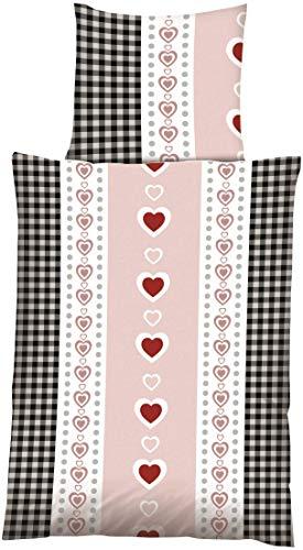 Home Dreams feine Microfaser Bettwäsche HERZERL mit Karos im Landhausstil beige-rosé rot grau 135 cm x 200 cm beige rot grau