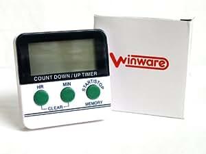 WINWARE - Minuteur électronique pour Cuisine/Cuisson/exercices/activités sportives (heures et les minutes) - Léger et facile à utiliser, aimant magnétique au dos, Caractères de grandes tailles et alarme sonore. (Piles incluses).