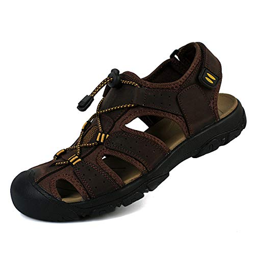 Sandali sportivi da uomo, sandali sportivi estivi, sandali da spiaggia traspiranti, sandali da passeggio casual taglia grande, scarpe da esterno chiuse scarpe da trekking antiscivolo,Brown2-50