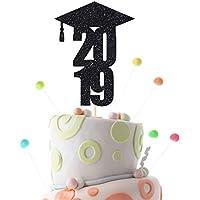Black Graduation 2019 cake topper. Graduation party decor. Cap cake topper