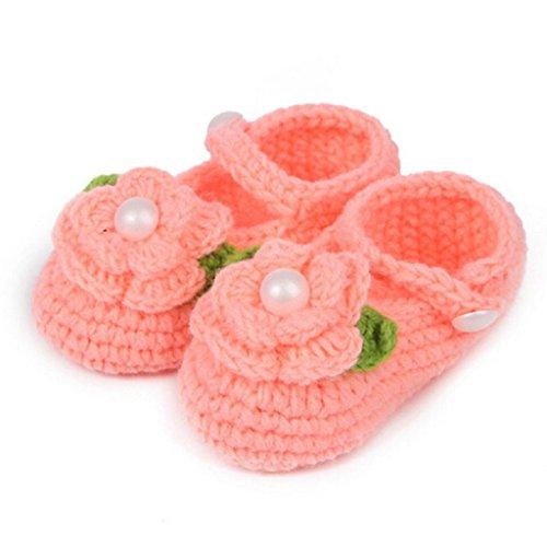 Sannysis Baby-Mädchen Handgemachte Strick Rose Schuhe(0-1 Jahre alt) (Rosa) Orange