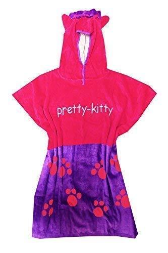 Qualité 100% Cotton Garçons Filles Enfants Enfants Poncho à Capuche Piscine Serviette de Bain, 7 Designs - Pretty Kitty, Taille Unique