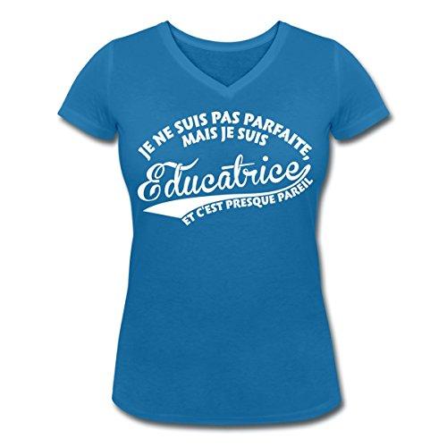 Je Ne Suis Pas Parfaite Mais Éducatrice T-shirt col V Femme de Spreadshirt® bleu paon