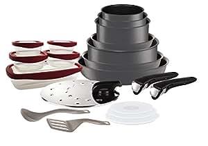 Tefal L6589903 Set de poêles et casseroles - Ingenio 5 Performance Gris 20 Pièces - Tous feux dont induction