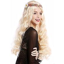 WIG ME UP ® - 91298-ZA02 Peluca mujer hombre Carnaval Halloween hippy 60s 70s largo rubio ondulado partido medio cinta flor