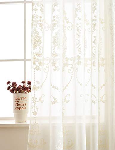 Vintage Weiße Tüll (Lactraum Vorhang Wohnzimmer mit Ösen Weiß Tranparent Bestickt Vintage Klassische Voile (Dichte) 200 x 245cm)