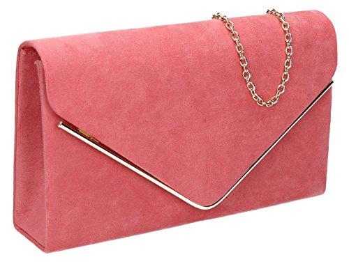 Oscar lussuoso Oro Trim busta scamosciata velluto partito da sposa pochette borsetta–SwankySwans Coral Pink