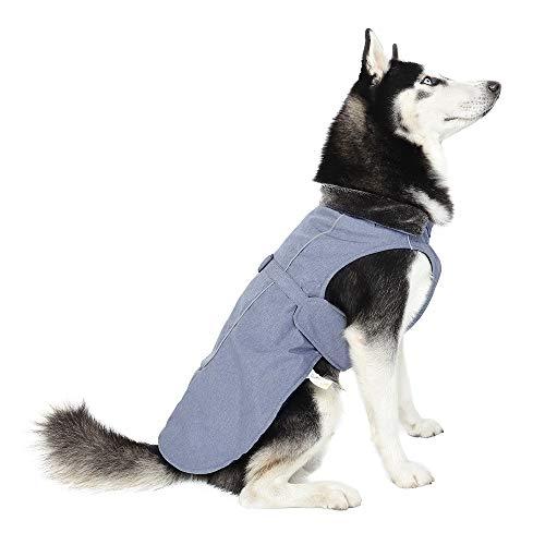 Speedy Hundemantel für kalte Wetter; warme Jacke für Haustiere, Kunstfellkragen, für mittelgroße und große Hunde, XL(Back 15.7