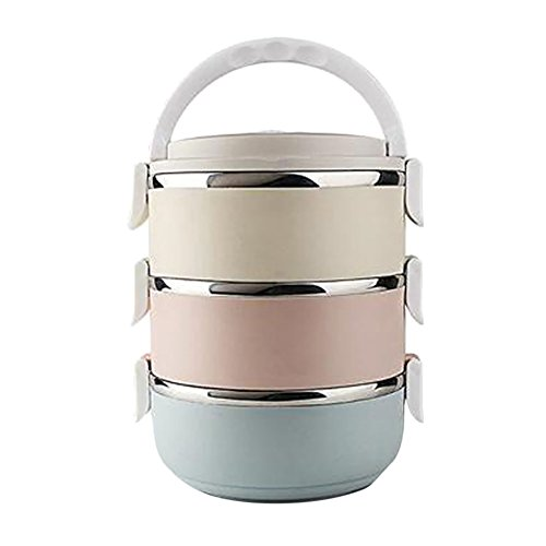 Haodasi 3 Stackable Runden Edelstahl Bento Box Isolierung Barrel Kinder Erwachsene Essen Lager Container Lunch-Box Lid of Food Saver mit Tragegriff für Work Lunches -